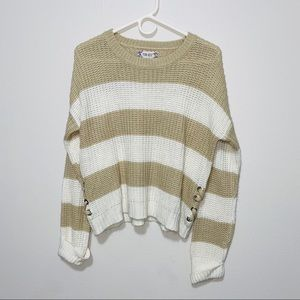 Pink Rose Striped Knit Sweater